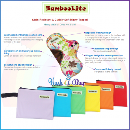 Bamboolite Washable Maternity Day/Nigh Pad with Bag