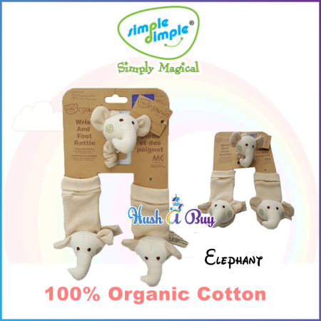 Simple Dimple Organic Baby Hands and Foot Rattles - Elephant
