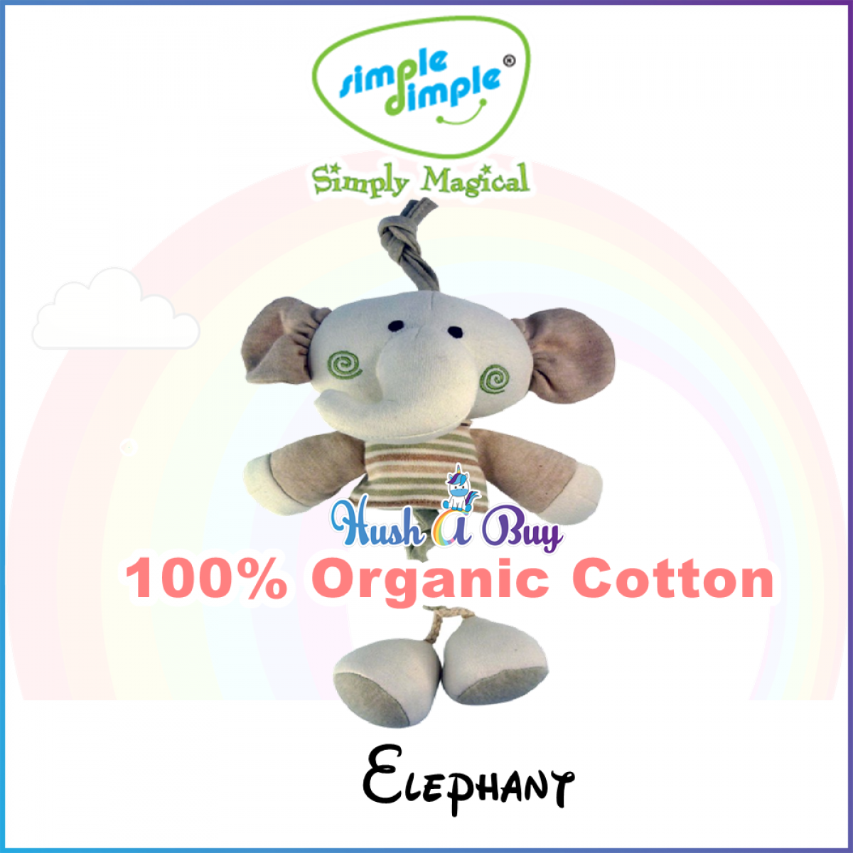 Simple Dimple Organic Stuffed Squek Pull String Vibrating Toys