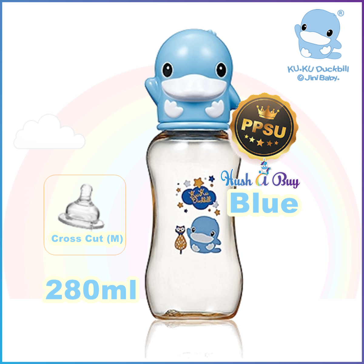 KUKU Duckbill PPSU Standard Feeding Bottle-140ml, 240ml, 280ml