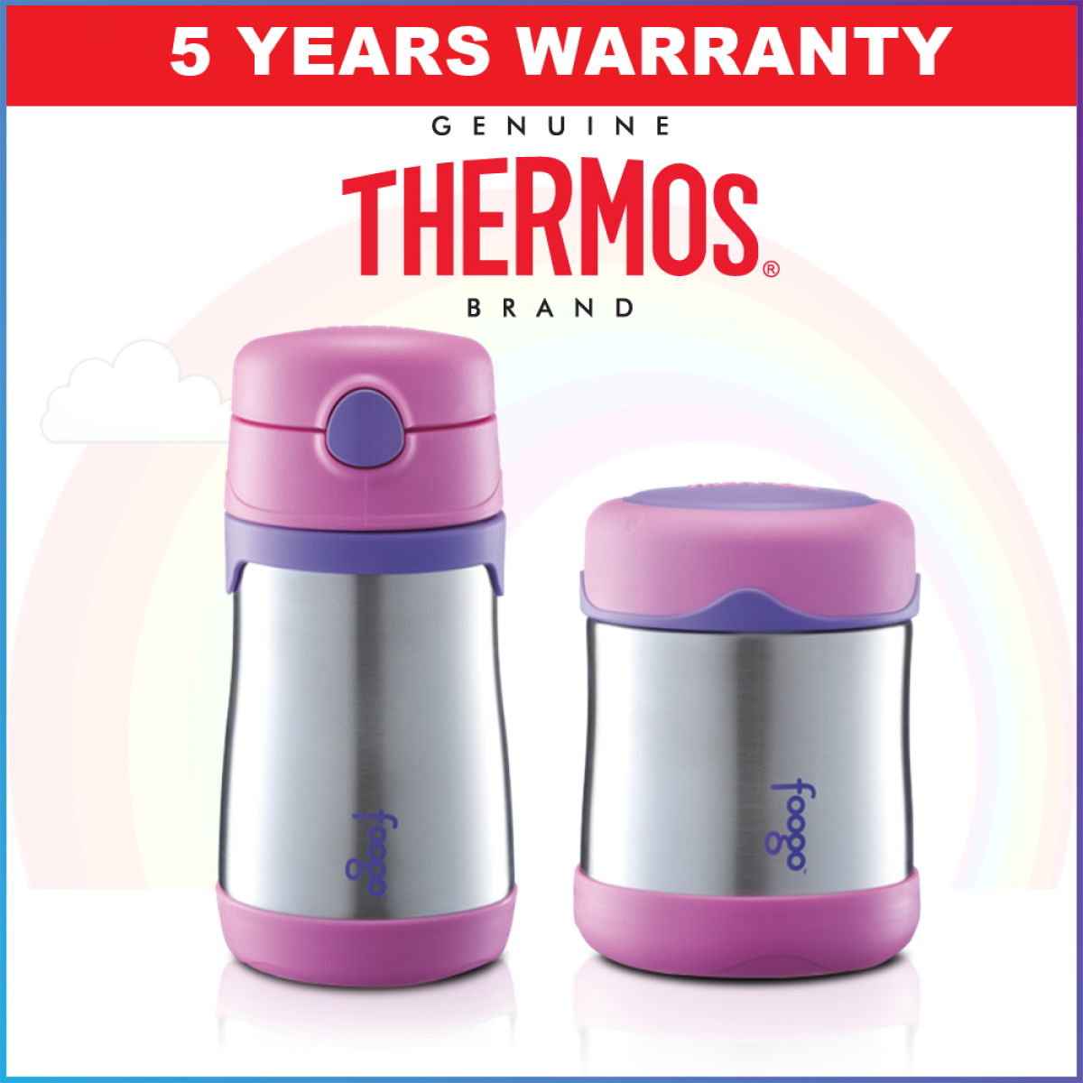 SPECIAL PROMOTION: Thermos Vacuum Insulated Foogo Food Jar and Straw Bottle 290ml