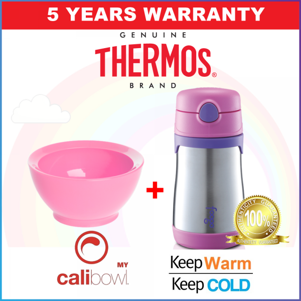 SPECIAL PROMOTION: Thermos Stainless Steel Sippy Cup with Straw and Handle and Calibowl Super Combo