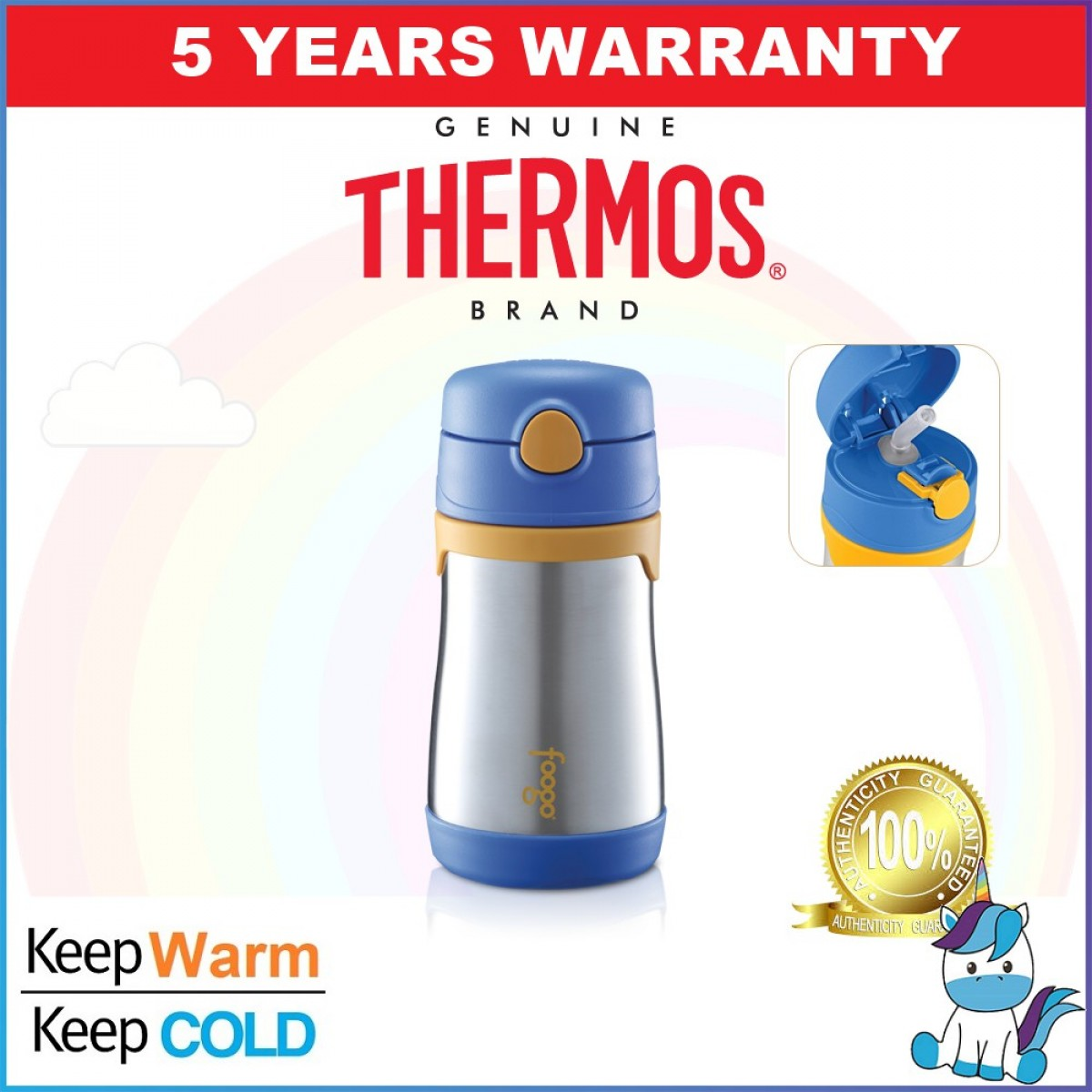 LIMITED TIME PROMOTION - Authentic Thermos Foogo Food Jar 295ml - 5 Years Warranty FREE COMPANTIBLE POUCH