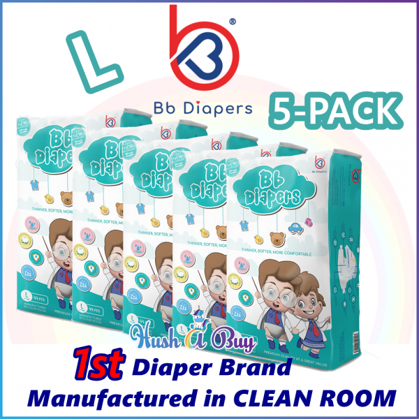 5 Packs - BB Diapers Premium Quality Disposable Tape Diapers L Size (44PCS)