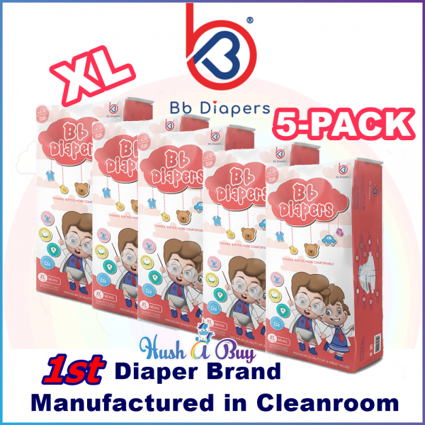5 Packs - BB Diapers Premium Quality Disposable Tape Diapers XL Size ( 40PCS)