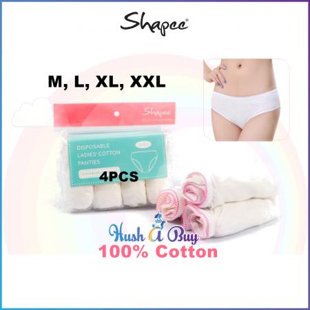 Disposable & Reusable Ladies Cotton Panties (4pcs) M, L, XL, XXL