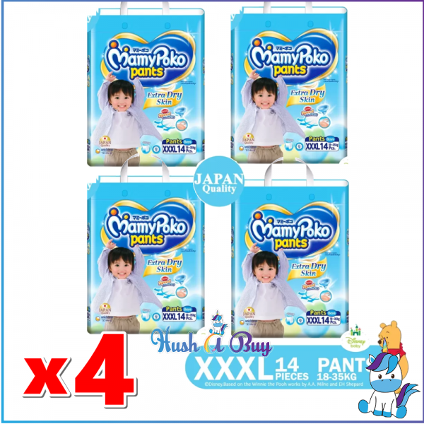 4 Packs of MamyPoko Extra Dry Skin PANTS XXXL Boys