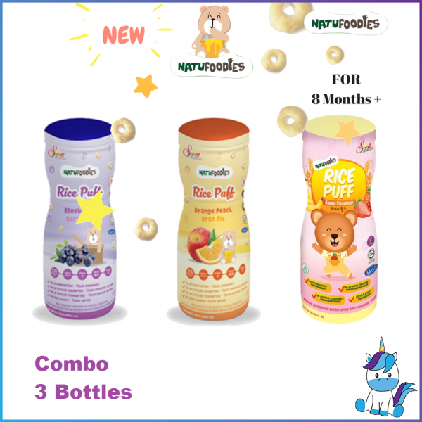 3 Bottles - Halal Natufoodies Rice Puff (60g) - Blueberry / Orange Peach / Strawberry Banana