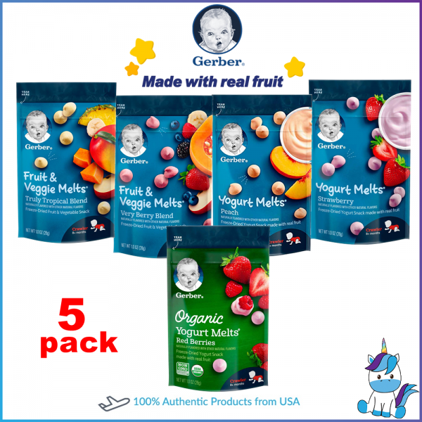 5 Packs - Gerber Yogurt Melts Freeze-Dried Yogurt Snack Made with Real Fruit 28g/pack