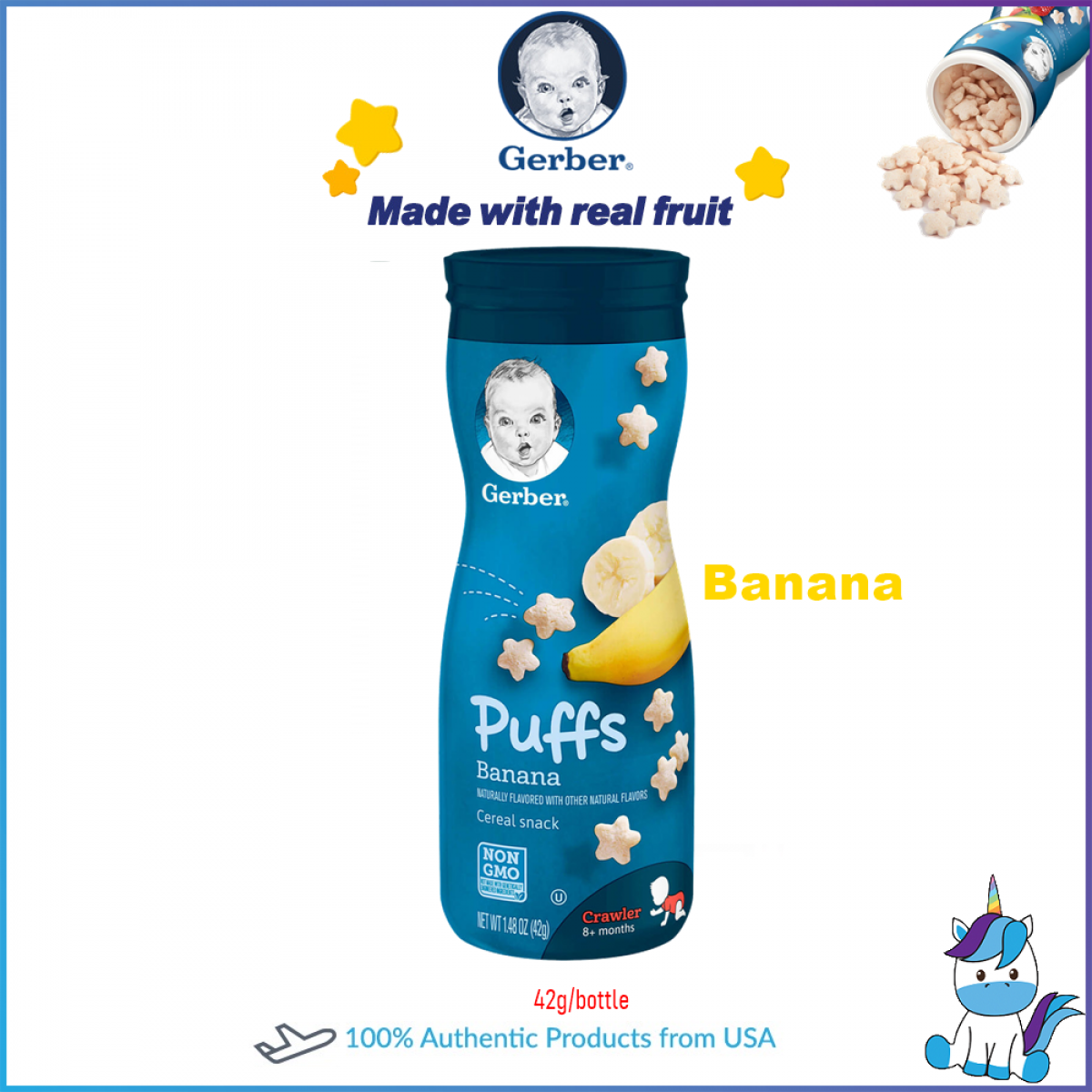 Gerber Organic Puffs Cereal Snack Assorted Flavor 6 Bottles