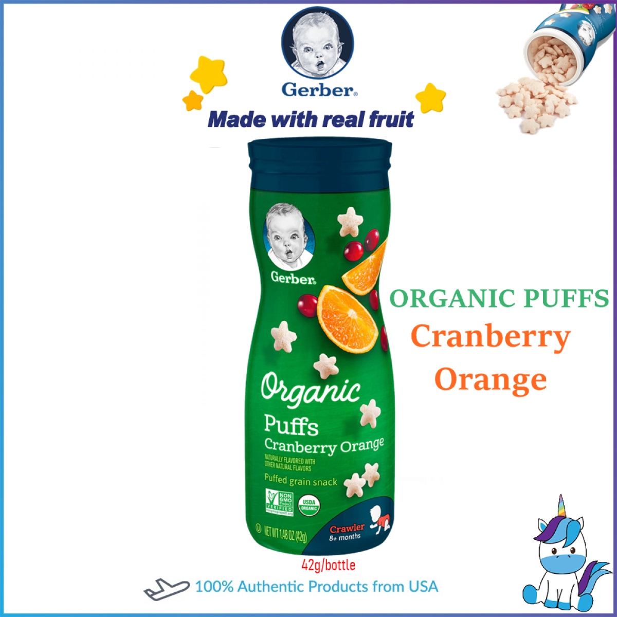 Gerber Organic Puffs Cereal Snack Assorted Flavor