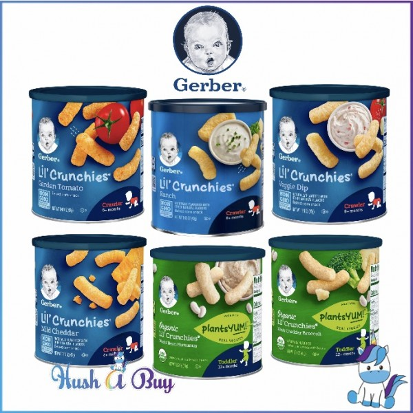 Gerber Lil Crunche Organic /  Non-Organic Crunch Crunchies Baby Snacks /  Teether Wheels 42g