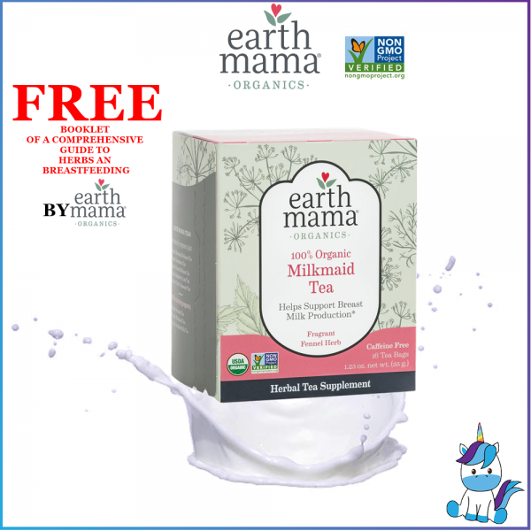 Earth Mama 100% Organic Milkmaid Nursing Tea (16 Bags) Boost Breastmilk Production - Caffeine Free