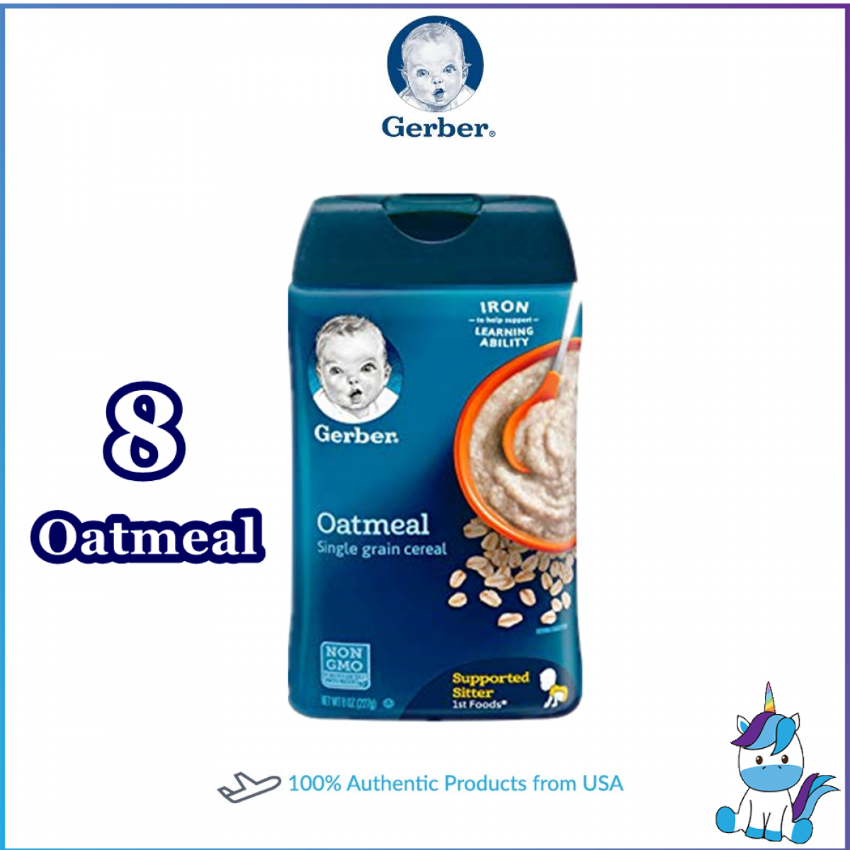 Gerber Cereal Rice Oatmeal DHA Probiotic Single Grain Multigrains Oatmeal Fruits 227g