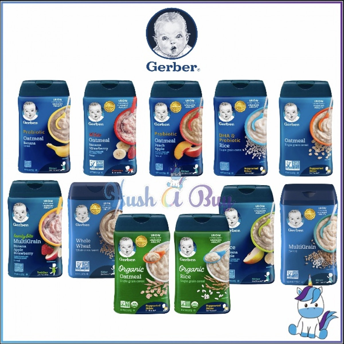 Gerber Cereal Rice Oatmeal DHA Probiotic Single Grain Multigrains Oatmeal Fruits 227g