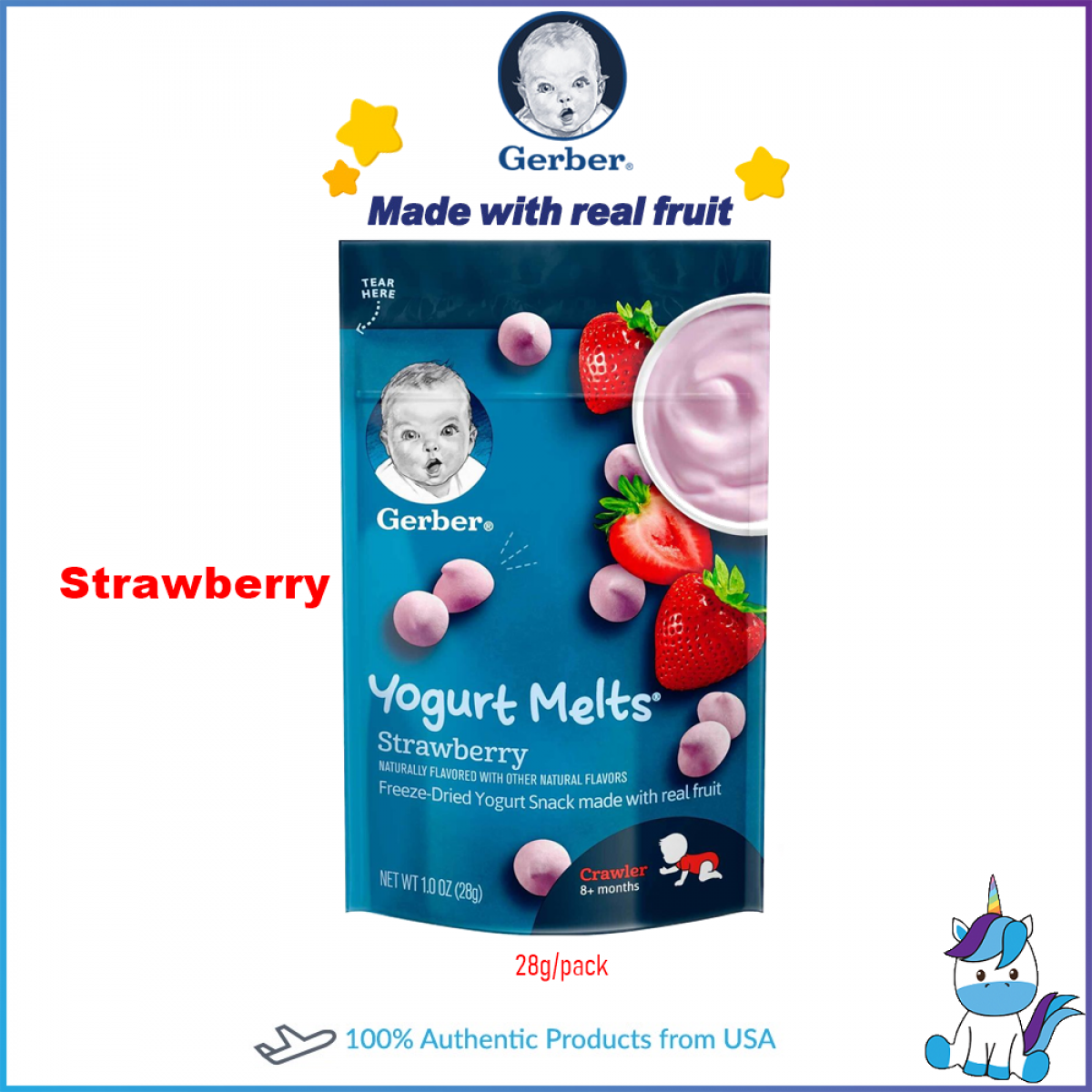 Gerber Yogurt Melts Freeze-Dried Yogurt Snack Made with Real Fruit 28g/pack