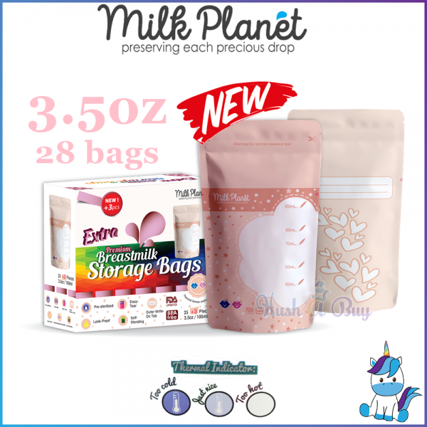 Milk Planet Premium Double Zip Lock Breastmilk Storage Bag with Thermal Sensor 3.5oz - Bag Susu 28pcs