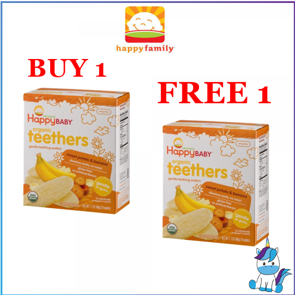BUY 1 FREE 1 - Happy Baby Organic Baby Teether Wafers (48g)(Expiry: 12/19)