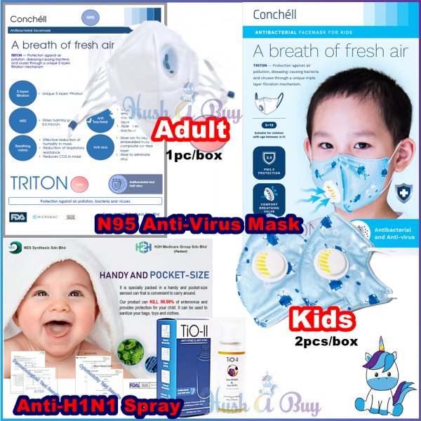 TIO-II ANTI-HFMD/H1N1 & Conchell TRITON N95 Mask for KIDS & Anti-Virus Spray 35g