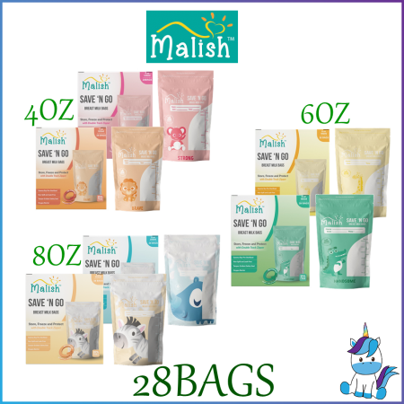 Malish Save N Go Breast Milk Bags 28bags - 4oz /6oz /8oz