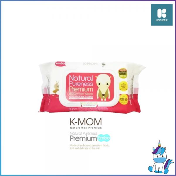 K-MOM Naturefree Organic Premium Embo Cap Baby Wipes Wet Tissues 80 Sheets