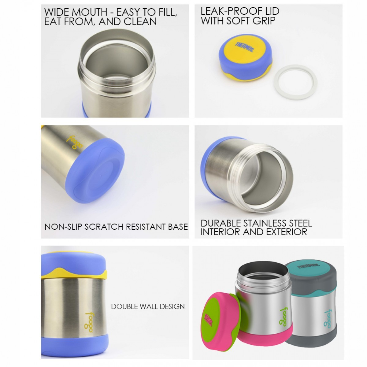 100% Authentic Thermos Insulated Vacuum Foogo Food Jar 295ml (Optional Add On Pouch) - 5 Years Warranty