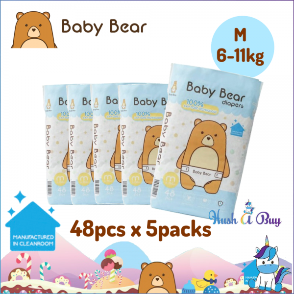 5 PACKS - Baby Bear Diapers - M (48pcs)  6-11KG - Manufactured in Clean Room