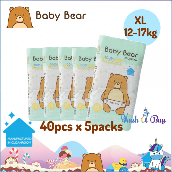 5 PACK - Baby Bear Diapers - Size XL(40pcs) 12-17KG - Manufactured in Clean Room
