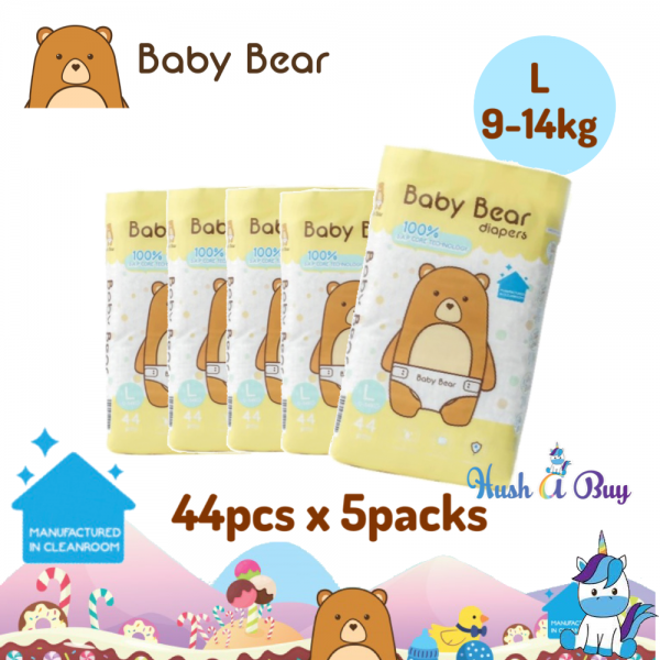 5 PACK Baby Bear Diapers - Size L (44pcs) 9-14KG - Manufactured in Clean Room