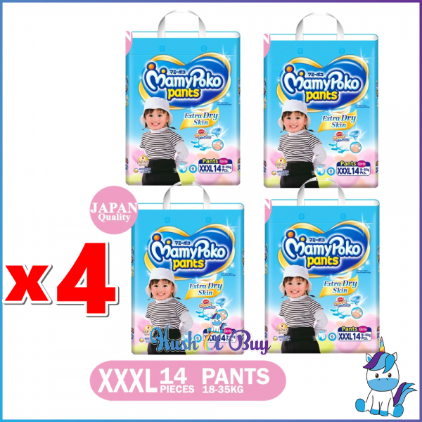 4 Packs of MamyPoko Extra Dry Skin PANTS XXXL Girls