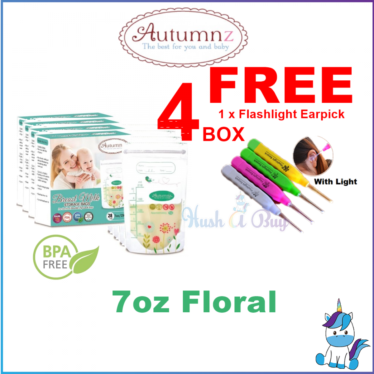 4 BOXES - Autumnz Double ZipLock Breastmilk Breast Milk Storage Bag / Bag Susu (28 Bags) 5oz / 7oz / 10oz / 12oz - FREE LED FLASHLIGHT EARPICK