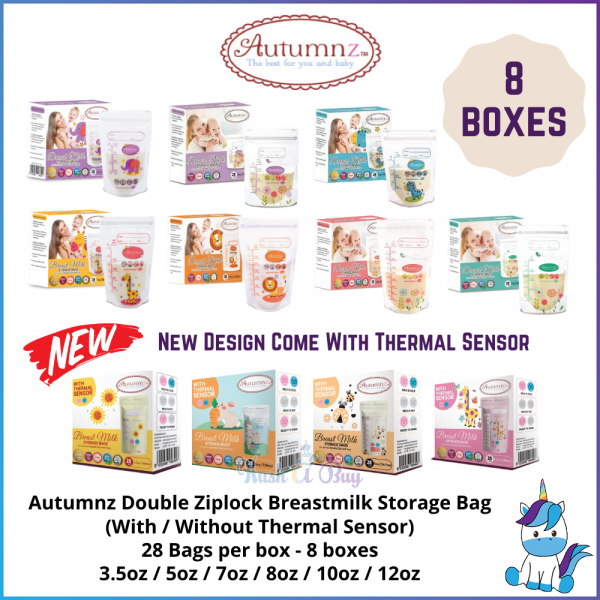 8 BOXES Autumnz Double ZipLock Breastmilk Milk Storage Bag - 28 bags / box - THERMAL SENSOR - 3.5 / 5 / 7 / 8 / 10 / 12oz