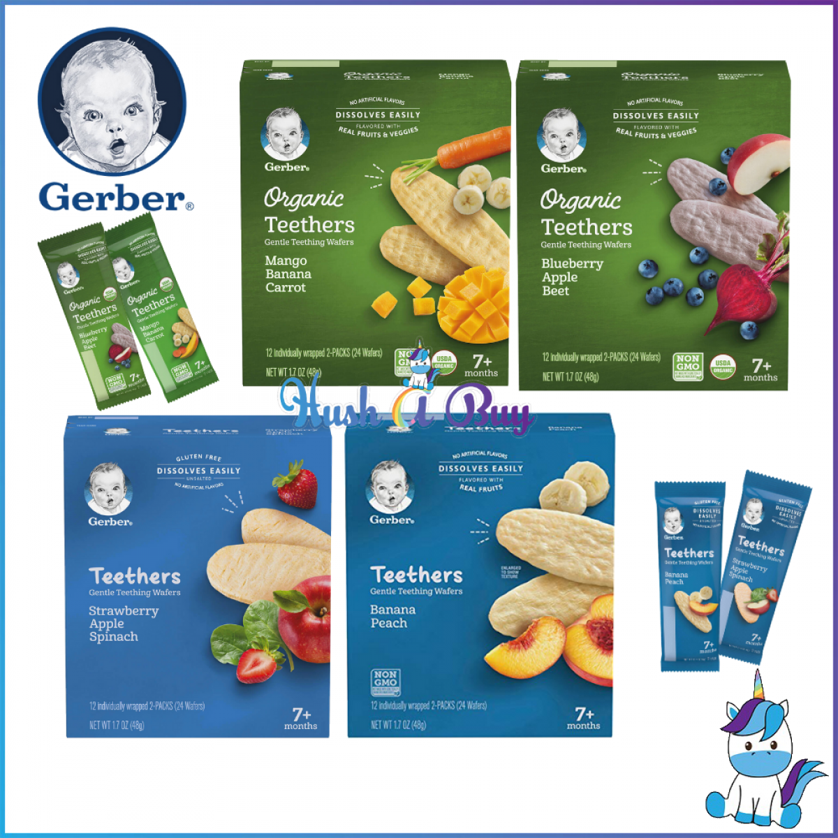 Gerber Organic Teether Gentle Teething Wafers 7+ months