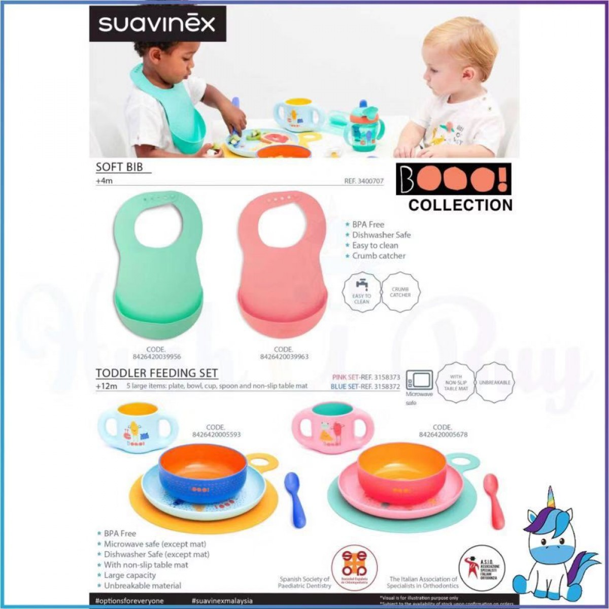 Suavinex Boo Collection BPA Free Waterproof Baby Apron Soft Bib