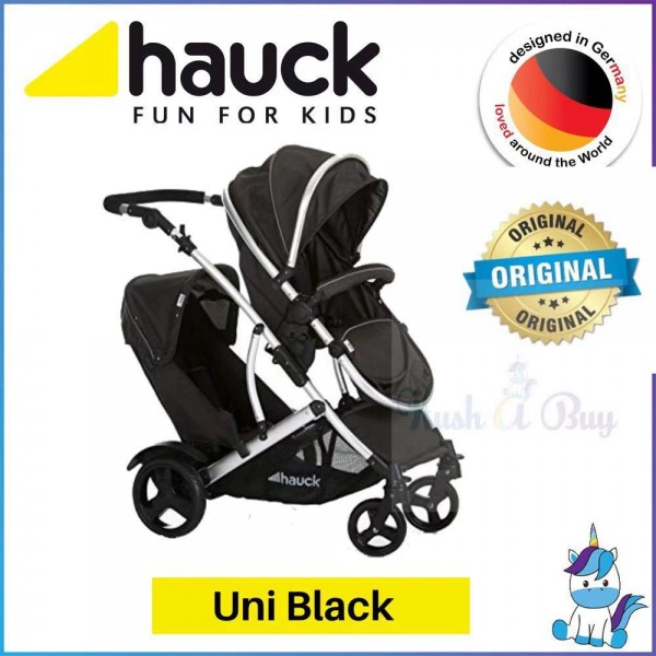 Hauck Duett 2 Stroller With Raincover - Uni Black
