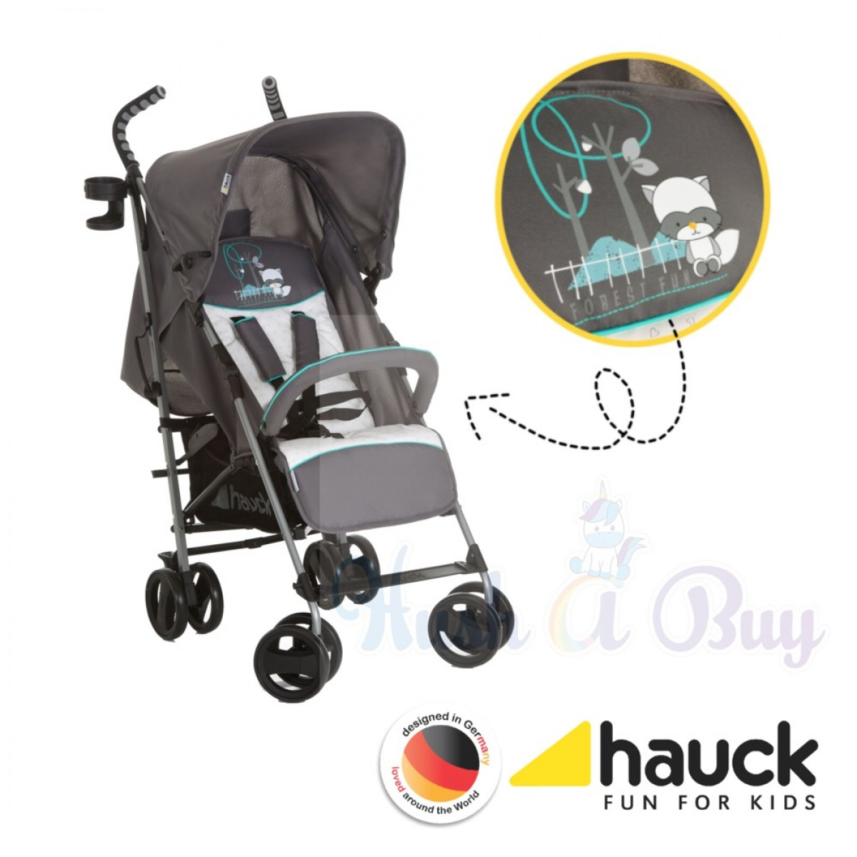 Hauck Speed Plus S Stroller- Neon Yellow / Forest Fun