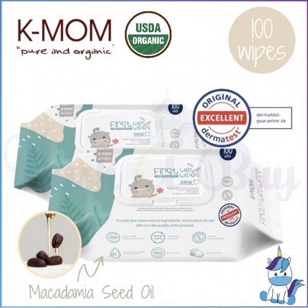 K-MOM Organic First Series Wet Wipes VALUE Cap 100pcs