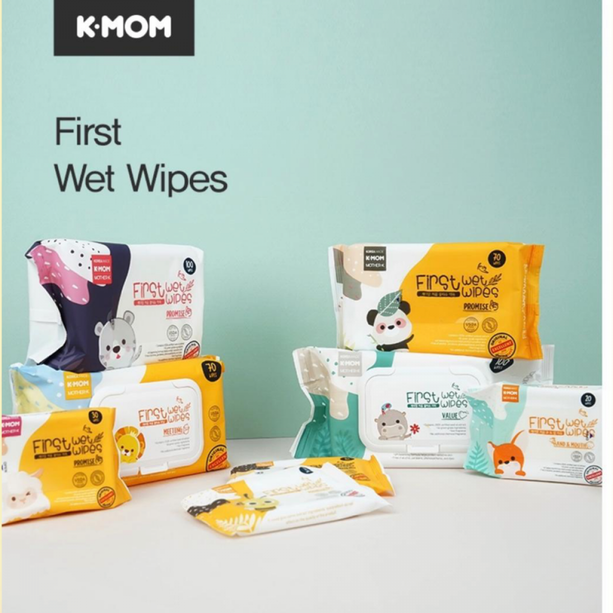 K-MOM Organic First All Purpose Surface Wet Wipes - 40pcs