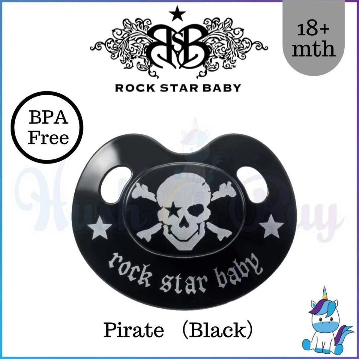 RockStar Baby Silicone Pacifiers / Soothers Ortho with Cover Single -18+ mth ROSE//PIRATE//HEART WINGS