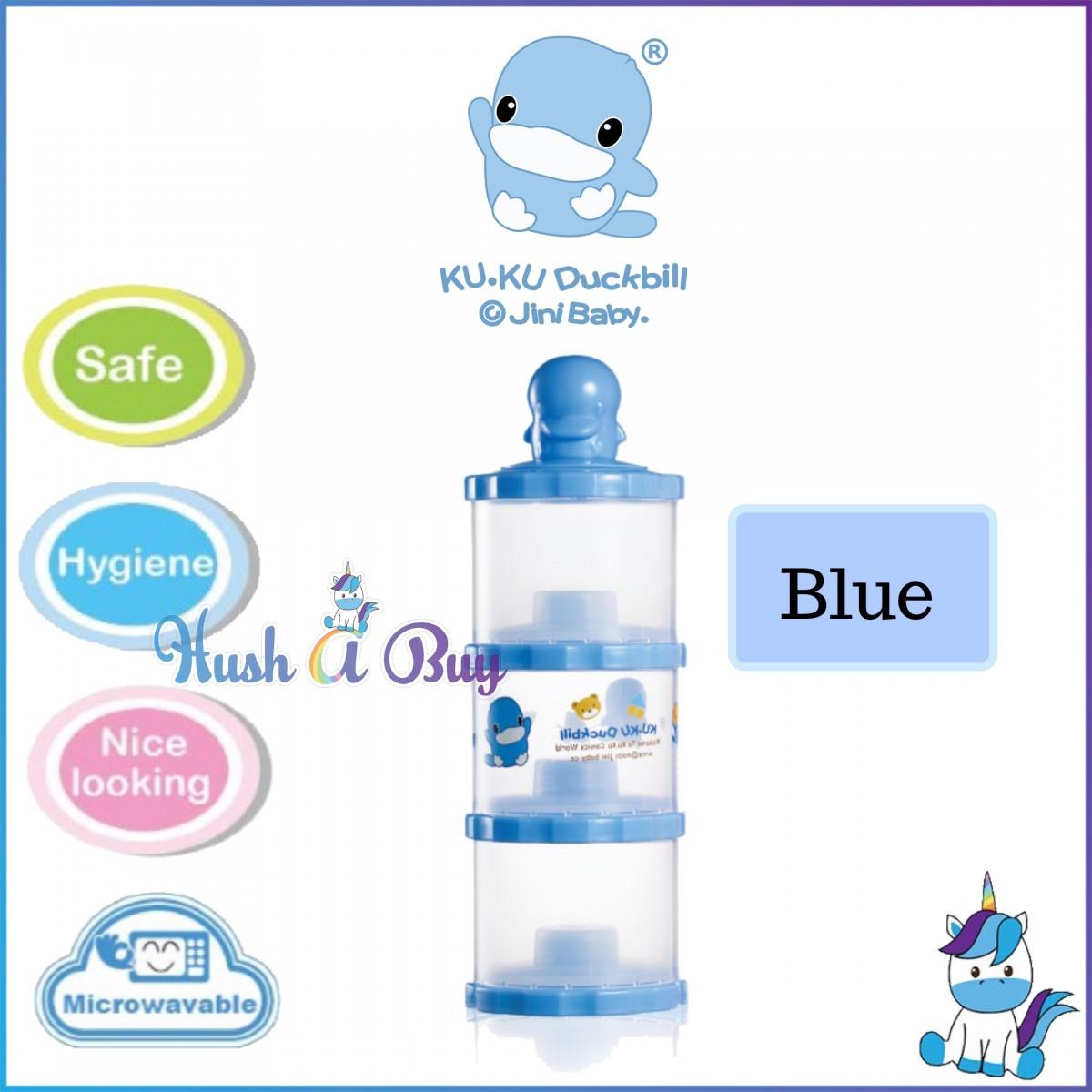 Ku-Ku Duckbill The Intelligent 3-Layer Milk Powder Container BLUE//PINK