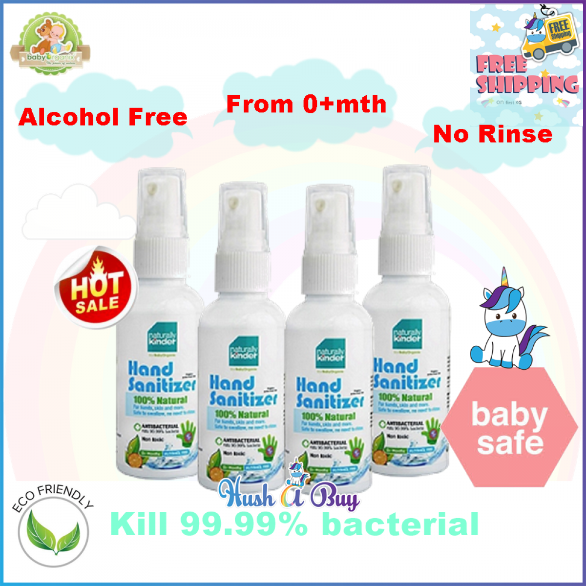FREE SHIPPING Baby Organix Naturally Kinder Hand Sanitizer 60ml, 400ml