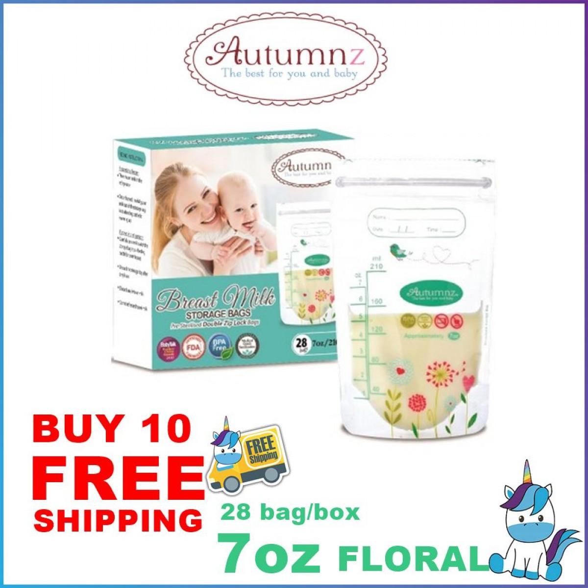 FREE SHIPPING - 10 BOXES  Autumnz Double ZipLock Breast Milk Storage Bag / Bag Susu (28 Bags) 3.5oz / 5oz / 7oz / 10oz / 12oz