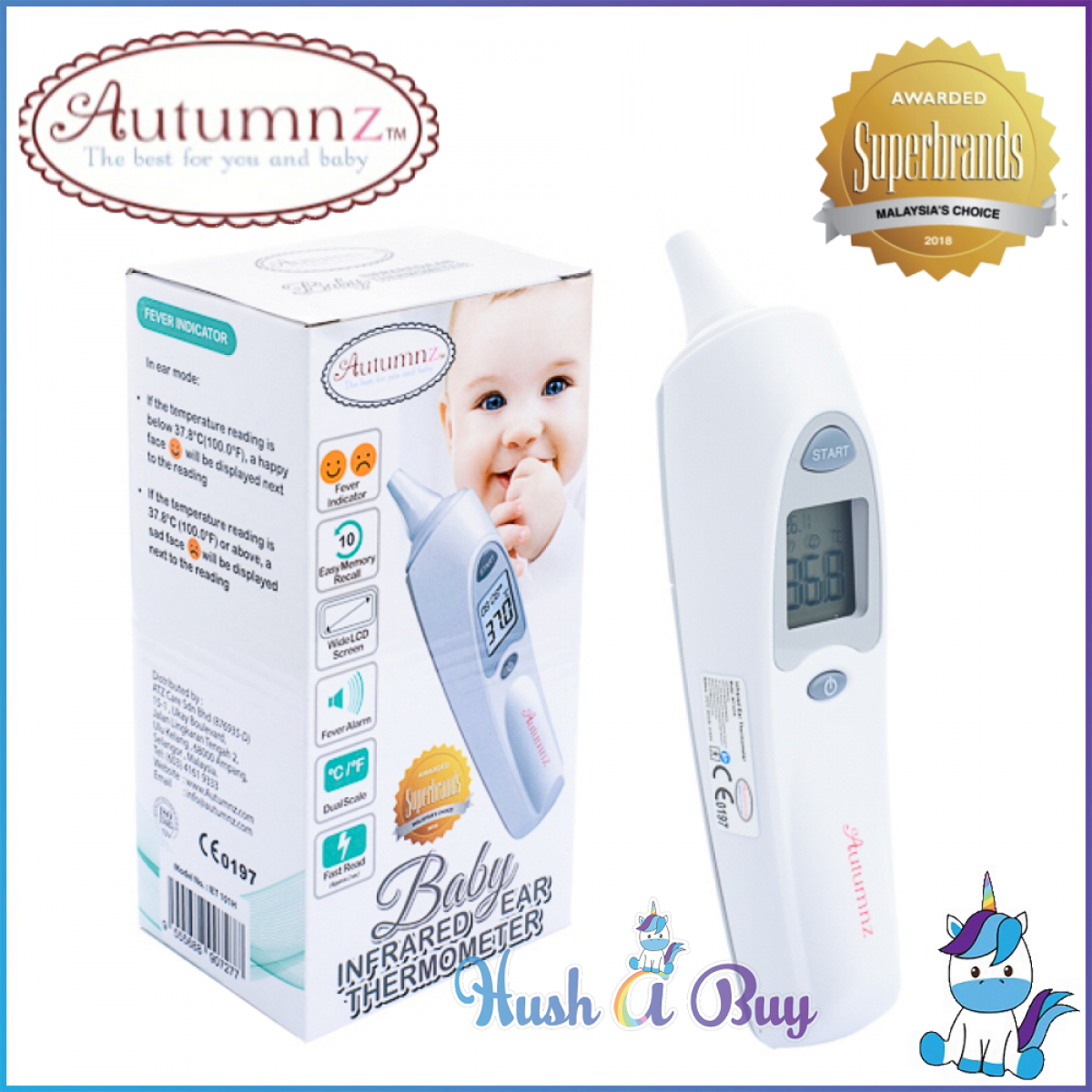 Autumnz Infrared Ear Thermometer - 1 Year Warranty - Free Probe Cover