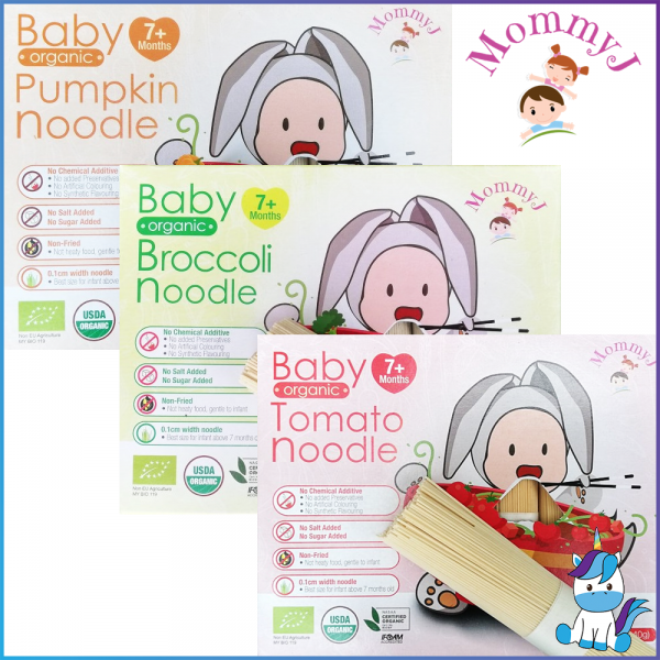 MommyJ Organic Stick Noddles (7+Months) Broccoli, Tomatoes, Pumpkin 200g ( 5 bundles x 40g )
