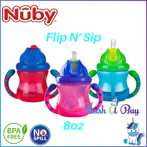 Nuby Two-Handle Flip N' Sip Straw Sippy Cup 240ml/8oz
