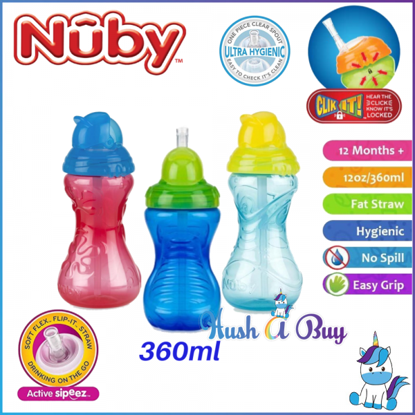 Nuby Click-it Flip-it Straw Cup 12oz/360ml