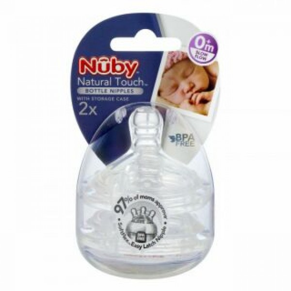Nuby Natural Touch Bottle Nipples with Storage Case (2pcs) 0+ Month Slow Flow
