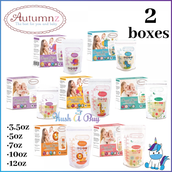 2 BOXES Autumnz Double ZipLock Breastmilk Milk Storage Bag 3.5OZ 5OZ 7OZ 10OZ 12OZ