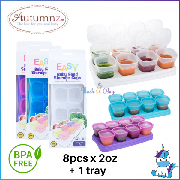 EASY Breastmilk & Baby Food Storage Cups (2oz) 8pcs with Tray by Autumnz