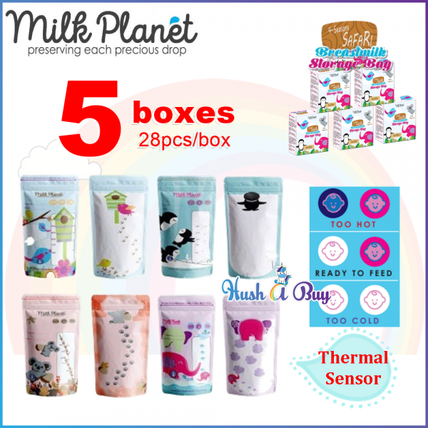 5 BOXES - Milk Planet Premium Double Zip Lock Breastmilk Storage Bag with Thermal Sensor 10OZ - Bag Susu 28pcs - 5 BOXES